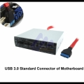 Interne All-in-One Kaartlezer SDHC + USB 3.0 Poort 20 pin connector (CK0020A-A)